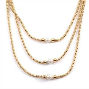 """Jewelry - Simulated Pearl Gold Tone Drape Necklace 24"""""""